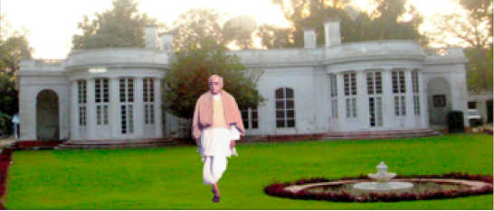 India's first Deputy Prime Minister, Vallabhbhai Patel, on his morning walk in front of his house.